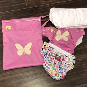 Girl Cloth Diaper Set. Unused Birth - 24 Month